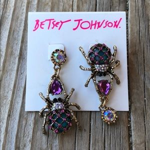Betsey Johnson Crystal Spider Drop Earrings BNWT!